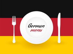 Sign Germany menu with dishes and cutlery Stock Illustration