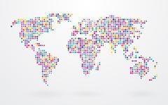 World map made up of small colorful dots Stock Illustration