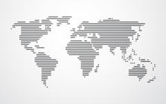 simple map of the world made up of black stripes on a light background - stock illustration