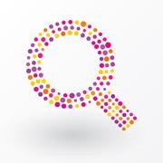 Magnifying glass composed of colored dots - stock illustration