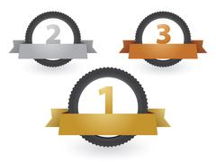Moto tires with medals for the winners and labels Stock Illustration