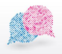 Stock Illustration of chat bubbles in blue and pink colors