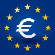 euro symbol with blue background and stars in the flag - stock illustration