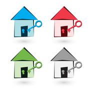 color house icon with keys - stock illustration
