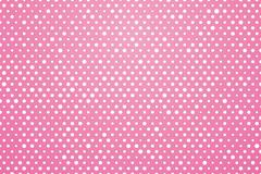 pink background with white polka dots - stock illustration