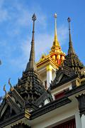 Asia  thailand  in   cross colors  roof wat  palaces      and      mosaic Stock Photos