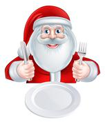 Santa Christmas Dinner Concept - stock illustration