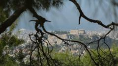 View Of The Acropolis Through Branches Of Trees Stock Footage