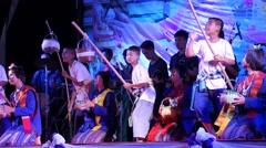 Students dance a funny dance at Songkran,Ubon Ratchathani,Thailand Stock Footage