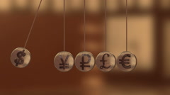 Balancing Balls, Newton's Cradle with currency sign Stock Footage