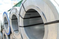 Rolled galvanized steel with polymer coating Stock Photos