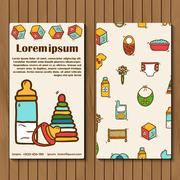 Template for booket, flyer or card on baby care theme - stock illustration