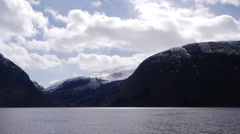 A view across the Geiranger Fjord towardes Eidsdal, Norway Stock Footage