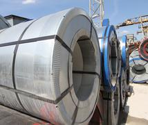 Rolled galvanized steel with polymer coating - stock photo