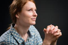 Happy Believer Gives Thanks in Prayer Stock Photos