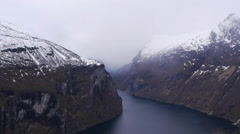 A view across the Geiranger Fjord, Norway Stock Footage