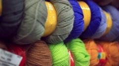 Colorful yarn in fabric market Stock Footage
