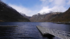 A view across the Geiranger Fjord, from Geiranger, Norway Stock Footage