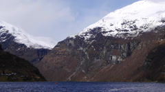 A view along the Geiranger Fjord, from Geiranger. Norway Stock Footage