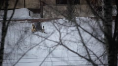 Clearing the road from snow in winter Stock Footage