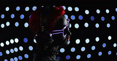 Red Head Gril Headphone Lights 6 Remix Stock Footage