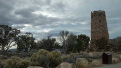 Grand Canyon Desert View Watchtower Landscape Establishing Stock Footage