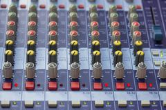 Buttons on sound mixer control panel Stock Photos
