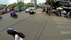 Ho Chi Minh City - April 2015: Street view with traffic in Saigon's Chinatown. Stock Footage