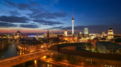 Berlin Skyline Light City Timelapse with Car Traffic and Cloud Dynamic Stock Footage