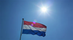 The flag of Netherlands waving in the wind Stock Footage