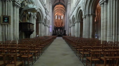 Flycam of inside view of an ancient church. France, Honfleur Stock Footage