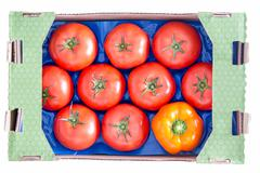 Red Tomatoes and Yellow Bell Pepper on a Tray Stock Photos