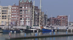 LELYSTAD - Modern apartment building at boulevard and marina Bataviahaven. Stock Footage