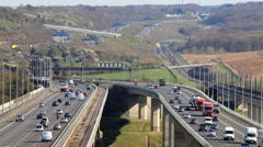 The M2 Motorway at Medway in Kent Stock Footage