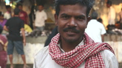 Portrait of a local Indian man at a street market in Mumbai. Stock Footage