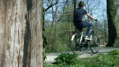 Guy rides a bike Stock Footage