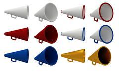Set of vintage megaphone isolated on white. - stock illustration