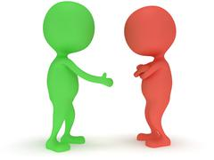 Stock Illustration of 3d two people do not shake hands.