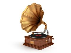 3d old vintage gramophone isolated on white Stock Illustration