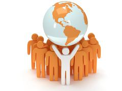 Earth planet globe and people. 3D render. Stock Illustration