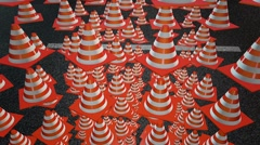 Falling abstract traffic cones Stock Footage