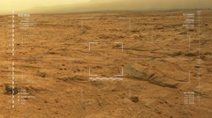 Simulated Mars surface rover camera footage – examine outcrop. Stock Footage