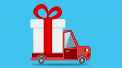 Gift delivery van rides on. Motion graphic animation. Arkistovideo