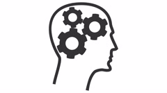 Gears rotate inside human head. Motion graphic animation. - stock footage