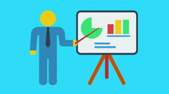 Man stand near blackboard with bar graph. Motion graphic animation. Stock Footage