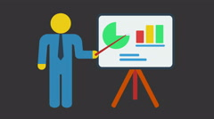 Man stand near bar graph and pie chart. Motion graphic. - stock footage