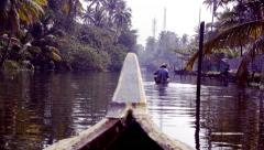 Canoe boats on backwaters of Kerala State, South India Stock Footage