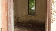 Window, old abandoned building, architecture, creepy house, scary, derelict - stock footage