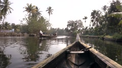 Kerala Backwaters, South india. Canoe and motor boat. Stock Footage