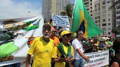 People protest against corruption. Copacabana, Rio de Janeiro, Brazil Stock Footage